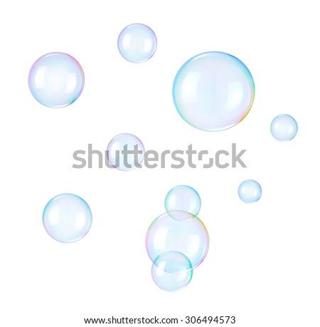 Soap bubbles on a white background - stock photo