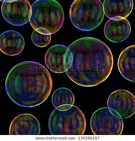 Soap bubbles on the black background - stock photo