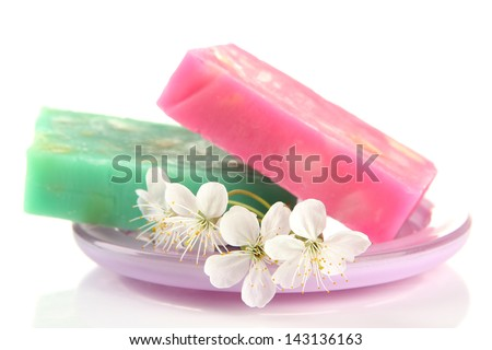Soap-dish with natural handmade soap, isolated on white - stock photo