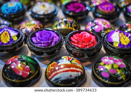 Soap flower in a night market. Chiang Mai, Thailand. - stock photo