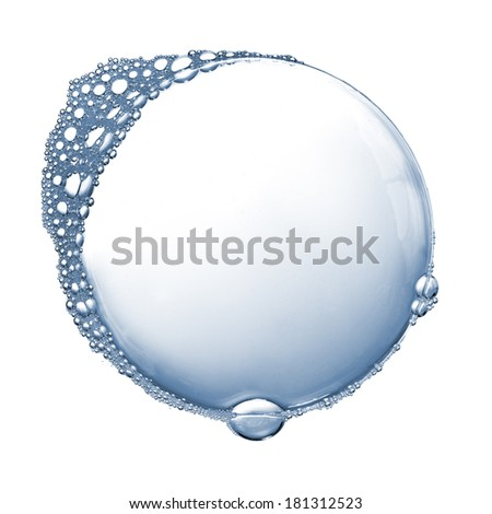 Soap foam bubbles isolated over white - stock photo