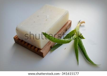 Soap natural with aloe vera - stock photo