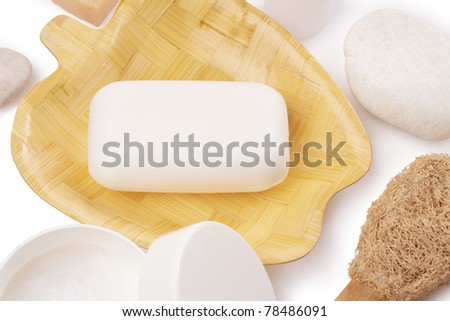 soap on soap dish with accessory - stock photo