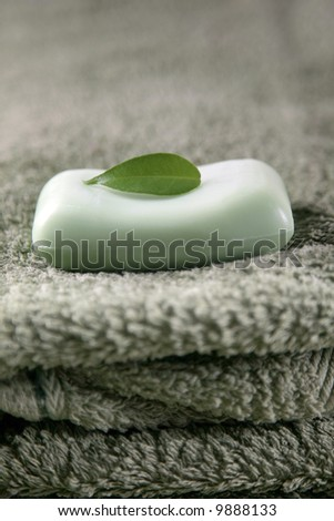 soap on the towel with green leaf - stock photo