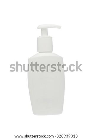 Soap plastic dispenser in white - stock photo