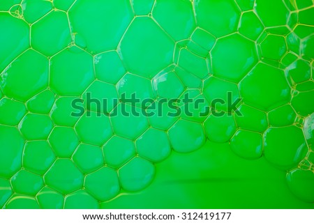 Soap suds extreme closeup creating beautiful pattern in lime green - stock photo