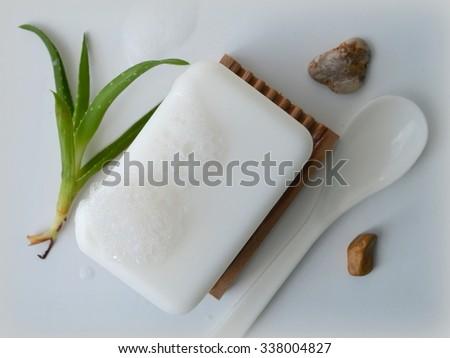 Soap with aloe vera - stock photo