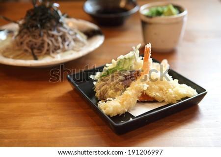 Soba noodle with fried shrimp - stock photo