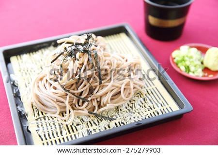 Soba noodle with fried shrimp - stock photo