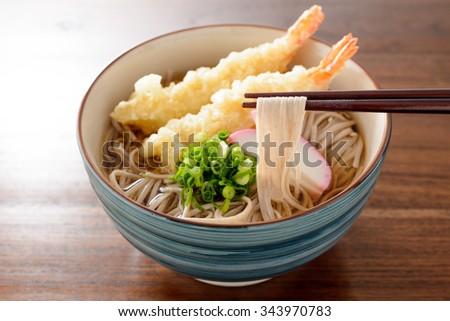 soba with tempura - stock photo