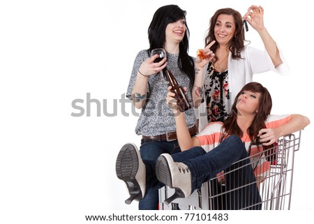 Sober mother taking car keys away from drunk party girls - stock photo