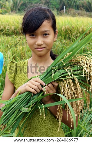 SOC TRANG, VIET NAM- MAR 23: Unidentified Asia children playing on rice field, Vietnamese kid hold sheaf of paddy on hand, stand with happy, smiling face in good crop, Vietnam, Mar 23, 2015 - stock photo