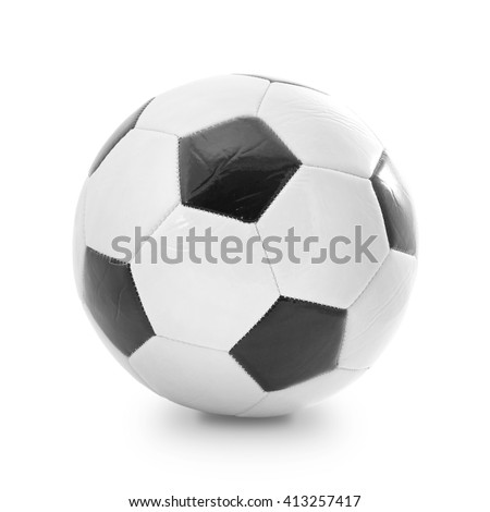 Soccer and football ball isolated on the white background - stock photo