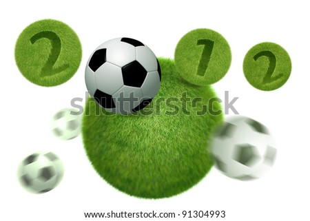 soccer and football 2012 model 3D Isolated, on white background. - stock photo