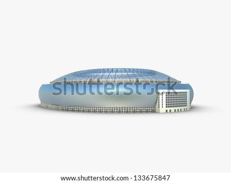 Soccer Arena on white background - stock photo