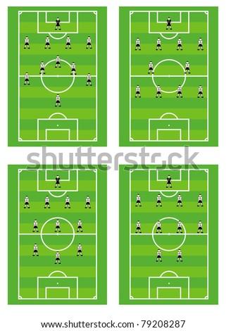 Soccer background. Footballers arrangement on field. - stock photo