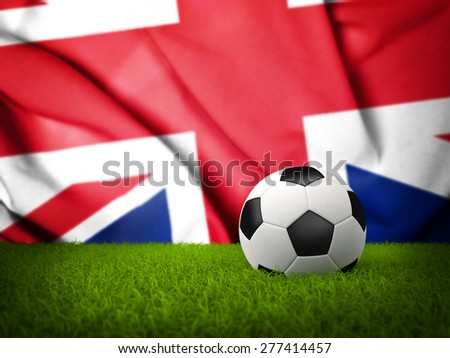 Soccer Background with Ball, Great Britain Flag and grass - stock photo