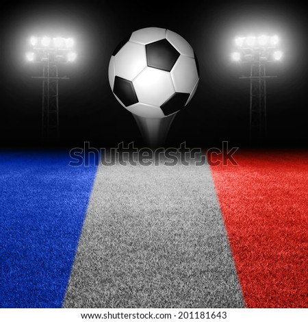 Soccer ball above french flag field against illuminated stadium lights - stock photo