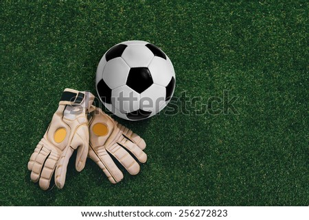 Soccer ball and goalkeeper gloves on the grass - stock photo