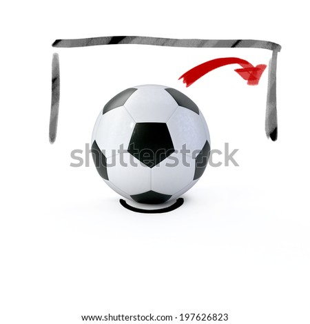 Soccer ball and soccer goal - stock photo