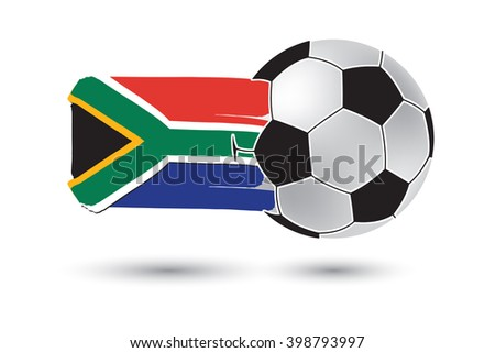 Soccer ball and South Africa Flag with colored hand drawn lines - stock photo