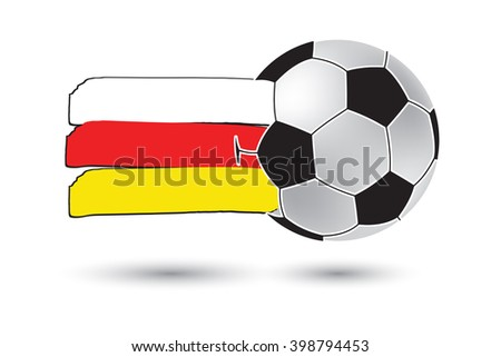 Soccer ball and South Ossetia Flag with colored hand drawn lines - stock photo