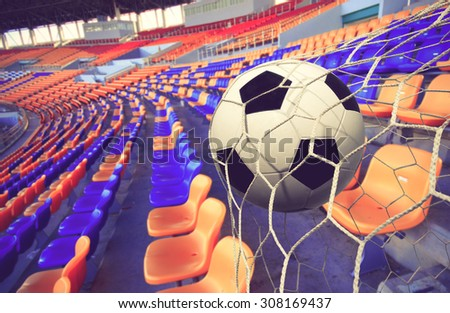soccer ball and Stadium  background color vintage - stock photo
