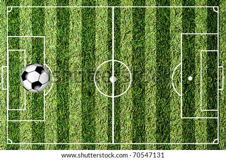 soccer ball at penalty kick spot on soccer  field stadium - stock photo