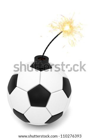 Soccer ball bomb with burning wick on white. High resolution 3D image rendered with soft shadows - stock photo