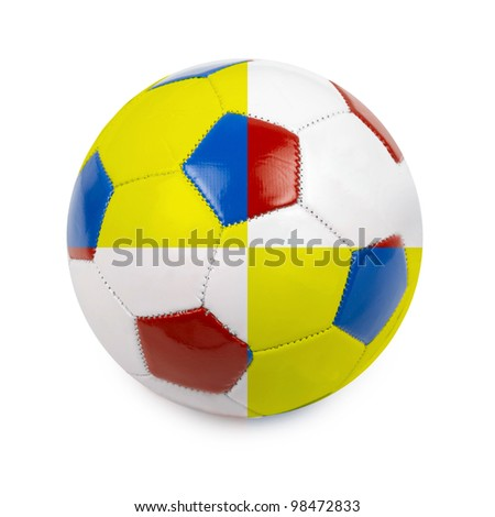 Soccer ball colored by flag of Poland and Ukraine on white - stock photo
