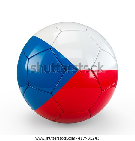 Soccer ball covered with Czech Czechia flag texture isolated on white background. 3D Rendering, 3D Illustration. - stock photo
