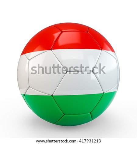 Soccer ball covered with Hungary Hungarian flag texture isolated on white background. 3D Rendering, 3D Illustration. - stock photo