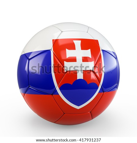 Soccer ball covered with Slovakia Slovakian flag texture isolated on white background. 3D Rendering, 3D Illustration. - stock photo
