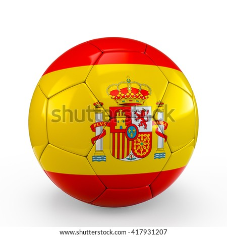 Soccer ball covered with Spain Spanish flag texture isolated on white background. 3D Rendering, 3D Illustration. - stock photo