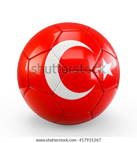 Soccer ball covered with Turkey Turkish flag texture isolated on white background. 3D Rendering, 3D Illustration. - stock photo
