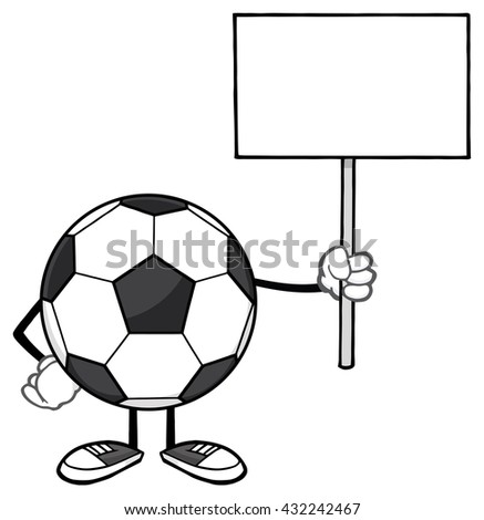 Soccer Ball Faceless Cartoon Mascot Character Holding A Blank Sign. Raster Illustration Isolated On White Background - stock photo