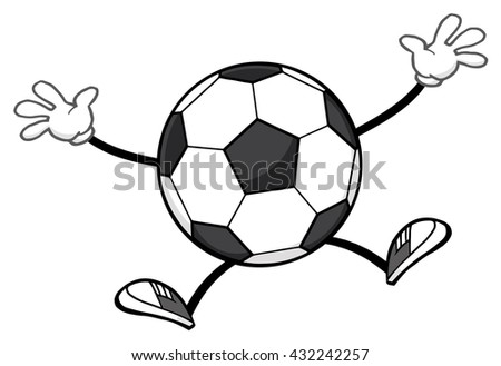 Soccer Ball Faceless Cartoon Mascot Character Jumping. Raster Illustration Isolated On White Background - stock photo