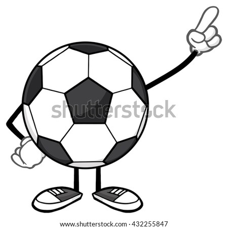 Soccer Ball Faceless Cartoon Mascot Character Pointing. Raster Illustration Isolated On White Background - stock photo
