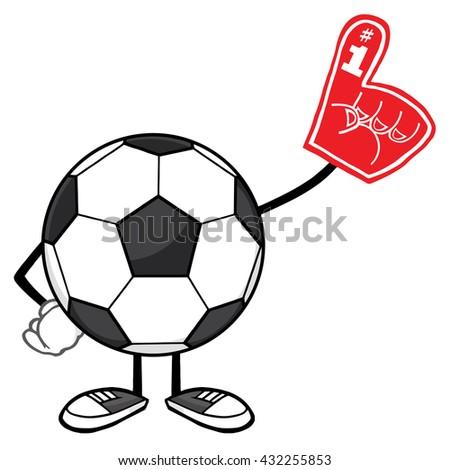 Soccer Ball Faceless Cartoon Mascot Character Wearing A Foam Finger. Raster Illustration Isolated On White Background - stock photo