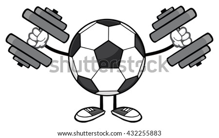 Soccer Ball Faceless Cartoon Mascot Character Working Out With Dumbbells. Raster Illustration Isolated On White Background - stock photo