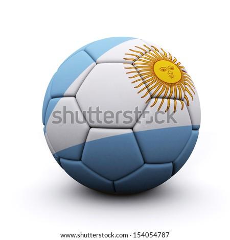 Soccer ball flag  Argentina- 3d render - stock photo