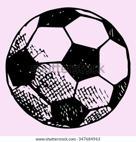soccer ball, football goal with ball, doodle style, sketch illustration, hand drawn, raster - stock photo