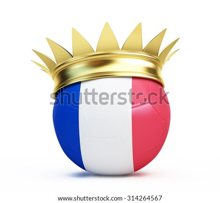 soccer ball french flag gold crown. 3d Illustrations on a white background  - stock photo