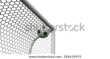 Soccer ball going into the top of the corner of the goal - stock photo