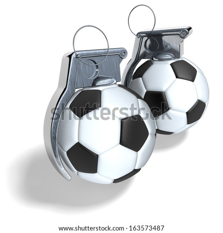 Soccer ball hand grenades, 3d rendering isolated on white background - stock photo