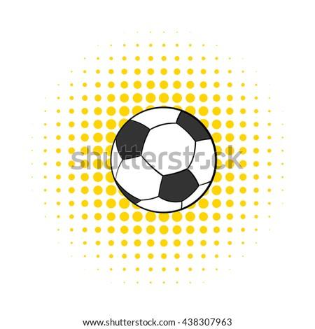 Soccer ball icon, comics style - stock photo