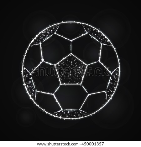 Soccer Ball Illustration Icon, Gray Color Lights Silhouette on Dark Background. Glowing Lines and Points - stock photo