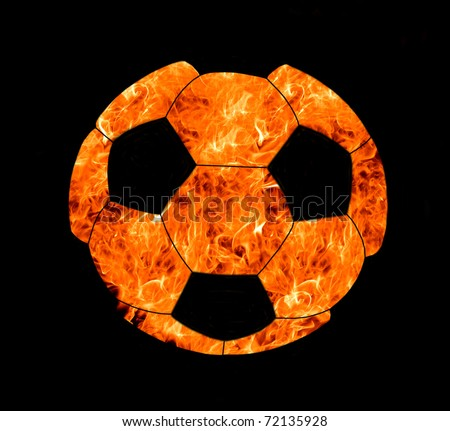 soccer ball in flame on black background - stock photo