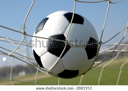 Soccer Ball in Net - stock photo