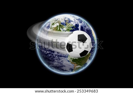 Soccer ball in space - earth texture by NASA.gov - stock photo